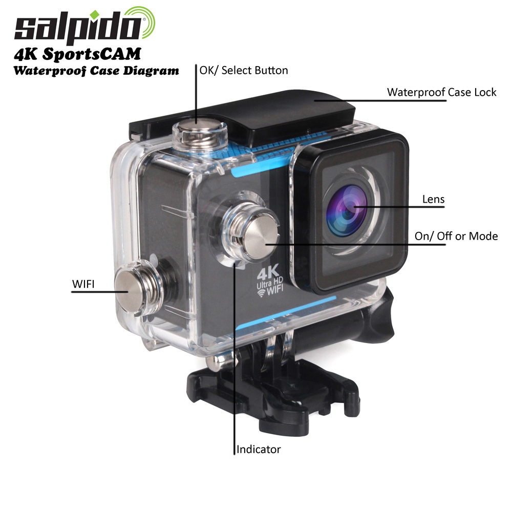 Salpido 4K Sports CAM Waterproof case diagram